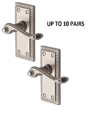 GEORGIAN SATIN DOOR HANDLES LEVER LATCH ROPED EDGE with fittings SATIN D13
