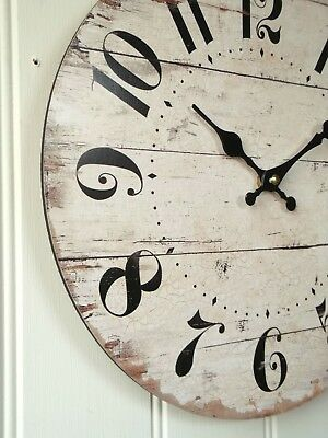 NEW 34cm LARGE SHABBY CHIC FRENCH  IVORY WALL CLOCK VINTAGE STYLE WOOD EFFECT