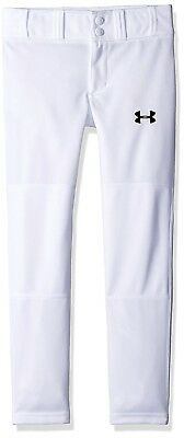 (Youth Small, White (100)/Black) - Under Armour Boys' Clean Up Baseball Pants