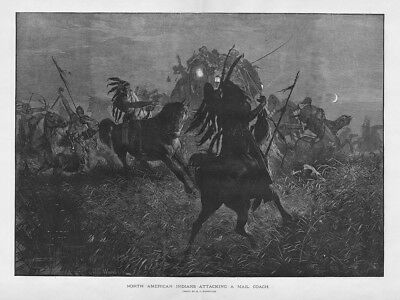 North American Indians Attacking a Mail Coach - Antique Print 1885
