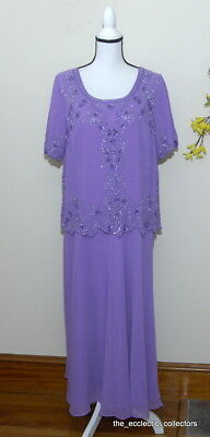 34abc4e79b60f Romans Womens Plus Size Dress Mother of Bride   Groom Purple Sz 18 W Beaded