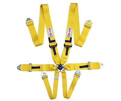 STR 6-Point Race Harness FIA 8853-2016 (2023) Safety Seat Belt IVA Safe - YELLOW