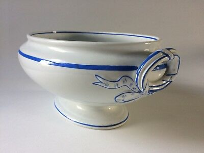Minton Vintage Large Handled Tureen Blue & White with Bows Circa 1938 27cm