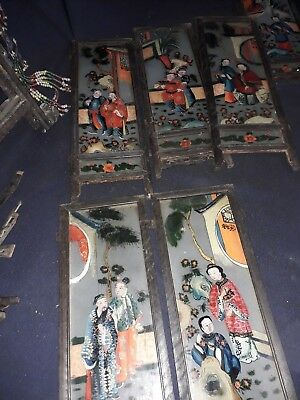Antique large Chinese wood and painted panels lantern