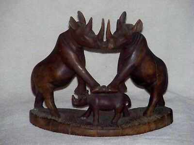 Vintage Hand Carved Wood 2 Kissing Rhinoceros With Baby Very Unusual