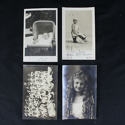 "Lot of 4 Real Photo Postcards Nurses, Children, WWI ""War Broke Out"" Interesting"