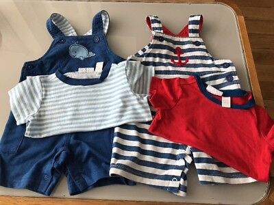 First Impressions Baby Boys Summer Short Dungarees Bundle Size 12 Months