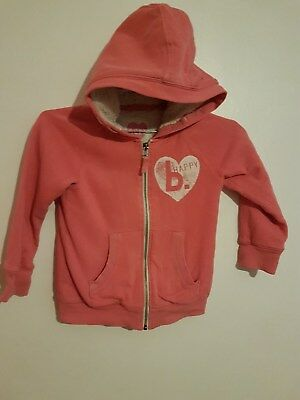 Ref 175 - NEXT - Girls Childrens Lovely Pink Hooded Sleeved Jacket Age 7 Years