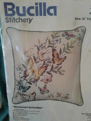 2Pc. ~  Bucilla Candlewicking/ Butterfly Pillow ~Embroidery Needlepoint Kits