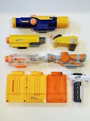 Nerf Gun Attachments Lot clips magazines Scopes misc used 9pcs