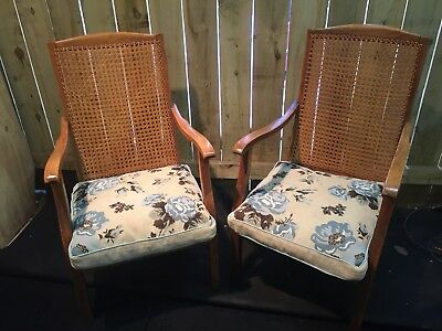 A Pair Of Vintage Cane Bergere Type  Chairs