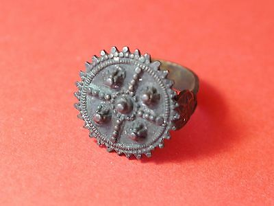 Byzantine or Medieval Bronze Hollow Ring with Rich Decoration 1845H