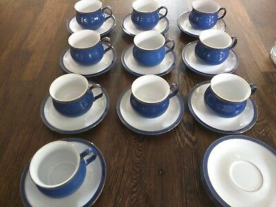 Denby Imperial Blue Set of 10 x Coffee Cups and 13 x Saucers