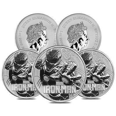 Lot of 5 - 2018 1 oz Tuvalu Iron Man Marvel Series Silver Coin .9999 Fine Silver