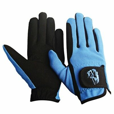 (Medium, Sky Blue) - TuffRider Children's Performance Gloves. Free Delivery