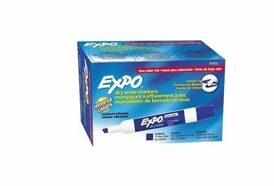New Blue EXPO Low-Odor Dry Erase Markers Chisel Tip 12 Count