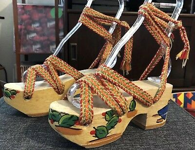 1930s 1940s Deadstock In-Steppers Sleepy Mexican Wood Platforms Sz 5