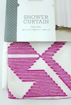 NEW Threshold Embroidered Shower Curtain Pink Tribal 72x72 Cotton White F
