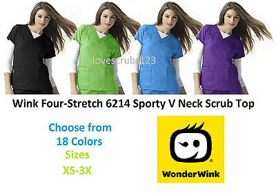 WonderWink Four Stretch 6214 V Neck Scrub Top Pick Size & Color Ships Free Wink