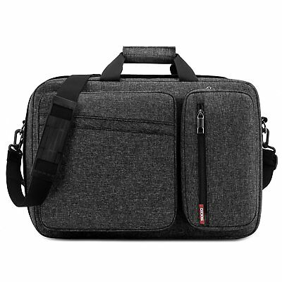 "17.3"" Convertible Laptop Bag Backpack Messenger Business Briefcase Dark Gray NEW"