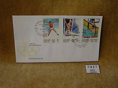 Laos Poste Lao Jeux Olympiques Barcelona 92 3 Values First Day Cover 1989 Fdc