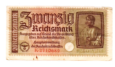 1940 Nazi Germany 20 Reichsmark banknote OCCUPIED TERRITORIES