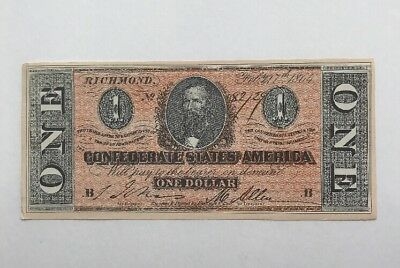 1864 Facsimile of the $1 One Dollar Confederate States of America Currency Note
