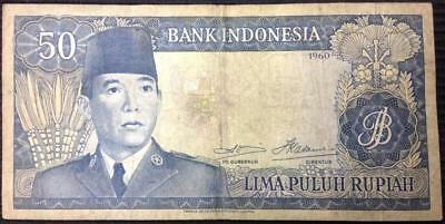 1960 Indonesia 50 Rupiah P-85 Seldom Offered Better Grade Note