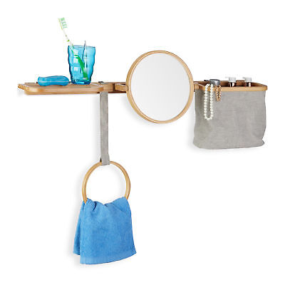Bamboo Bathroom Caddy Set with Round Vanity Mirror, Towel Rack and Baskets