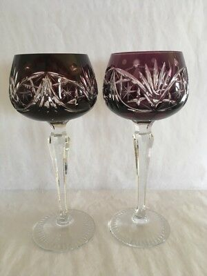Service For Two Vintage Hand Cut Lead Crystal Wine Glasses Western Germany Stem