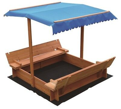 Kids Sand Pit Wooden Outdoor Backyard Sandpit Toy Box Canopy Large Seat Play Set