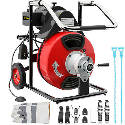 """Commercial Drain Cleaner 50ftx1/2"""" Drain Cleaning Machine Snake Sewer 5 Cutter"""