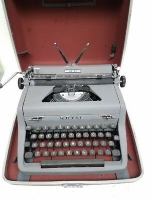 VTG Royal Quiet Deluxe grey w/ gray keys manual portable typewriter with case