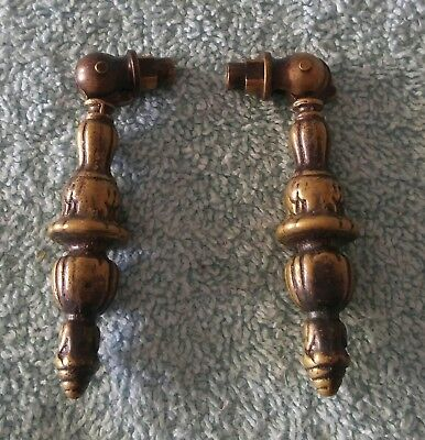 Antique Brass Hanging Drawer Pulls Set of 2 French Provincial Style Buffet Parts