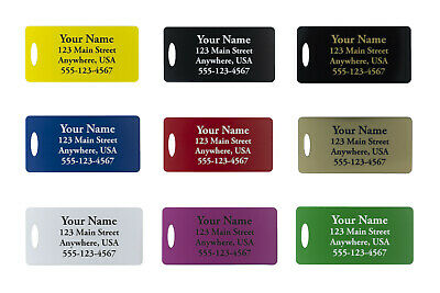 Two Custom Engraved Plastic Luggage Tags-Nine Color Options- Personalized