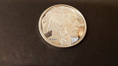 New Sunshine Mint Smi Buffalo Indian Head Mint Mark 1 Oz .999 Silver Bu Round