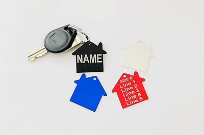 $3.80!! Personalised HOUSE ID Keyring, Home Shape Tag, FREE Laser Engrave & Post