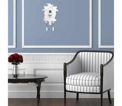Traditional Cuckoo Clock In White Vintage Retro Design Swiss Style Pendulums