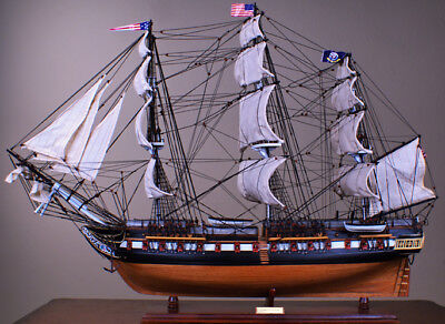 """USS Constitution 36"""" wood ship model sailing tall American navy boat"""