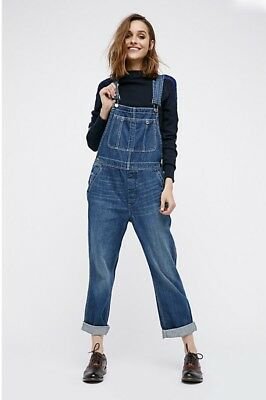 e87ef2df833 NEW Free People We The Free yale blue Denim Boyfriend Slouchy Overalls Jeans  26