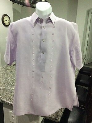Famous Onesimus Mens Barong Tagalog(Lavander) Men's Size Large