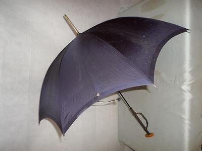 Vintage Ladies Navy Paragon Fox Umbrella w/ Leather Clad Handle & Wrist Strap