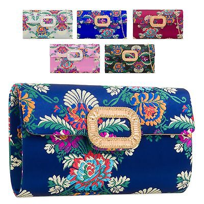 Ladies Floral Satin Clutch Bag Ethnic Flower Evening Bag Diamante Handbag KZ2158