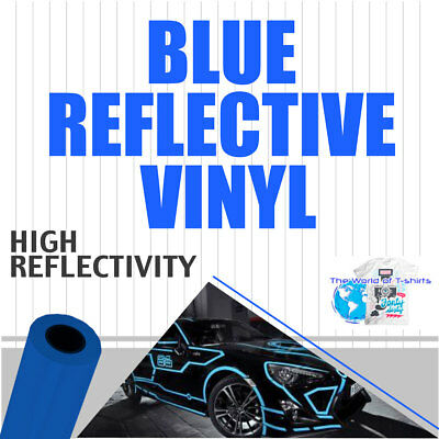"Sign Reflective Adhesive Vinyl  Cutter  BLUE 12"" x 10 ft"