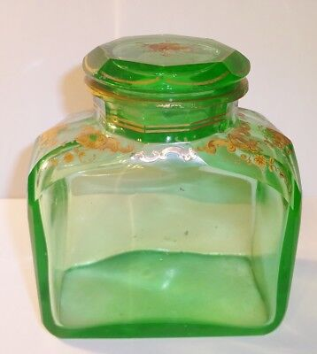 Antique Bohemian? Green Glass Apothecary? Dresser? Jar Bottle w/Gold