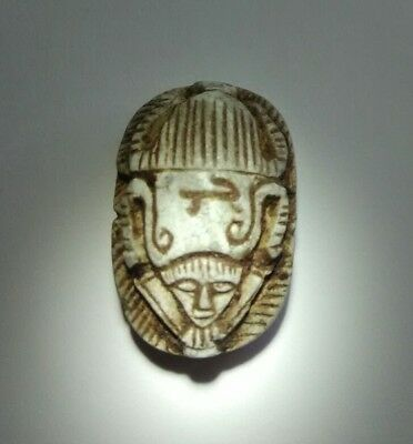 ANCIENT UPPER  EGYPTIAN CROWN  AKHNATON STEATITE  SCARAB Ancient Alien Face