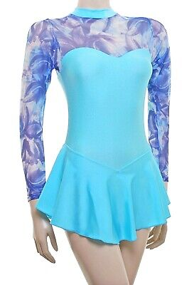 Skating Dress -AQUA LYCRA/BLUE MIX MESH -LONG SLEEVE  ALL SIZES AVAILABLE