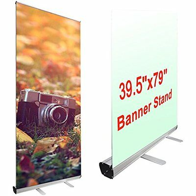 Aluminum Trade Show Retractable Roll Up Portable Banner Stand W/ Carry Bag, 39.5