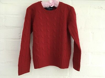 Red Polo Ralph Lauren cashmere cable knit sweater jumper 4 years old