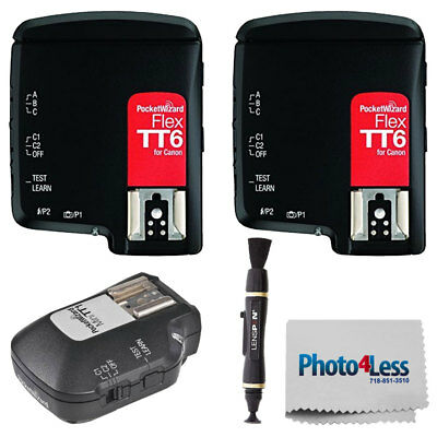 Two PocketWizard FlexTT6 Transceiver for Canon Cameras & Flashes + Accessories